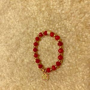 Rustic Cuff red & gold bracelet